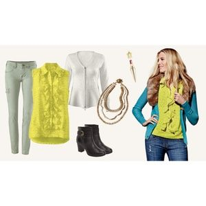 CAbi | Reign Ruffle Blouse in Chartreuse 3071